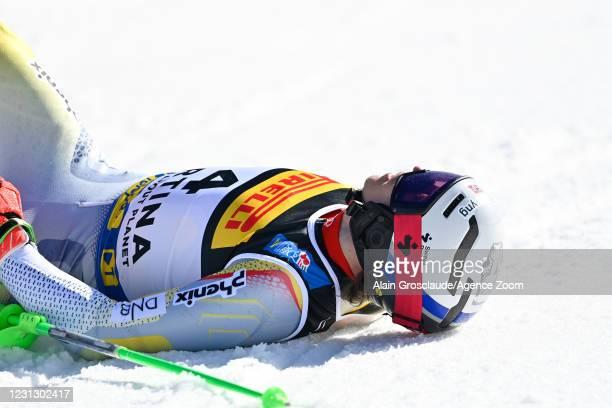 Henrik Kristoffersen of Norway celebrates during the FIS Alpine Ski World Championships Men's Slalom on February 21, 2021 in Cortina d'Ampezzo Italy.