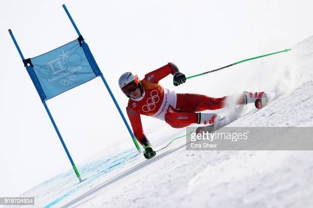 Henrik Kristoffersen of Norway competes during the Alpine Skiing Men's Giant Slalom on day nine of the PyeongChang 2018 Winter Olympic Games at...