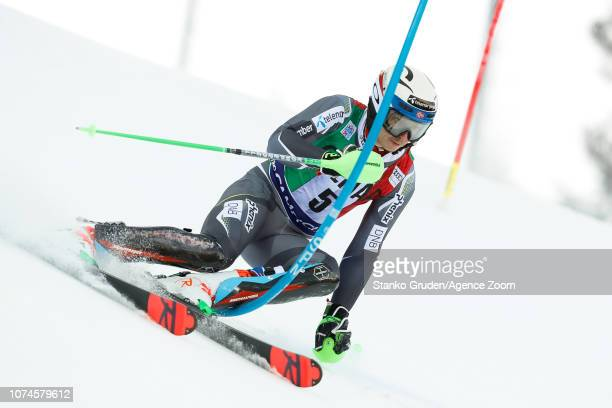 Henrik Kristoffersen of Norway competes during the Audi FIS Alpine Ski World Cup Men's Slalom on December 22 2018 in Madonna di Campiglio Italy