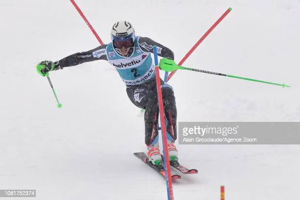 Henrik Kristoffersen of Norway competes during the Audi FIS Alpine Ski World Cup Men's Slalom on January 13 2019 in Adelboden Switzerland