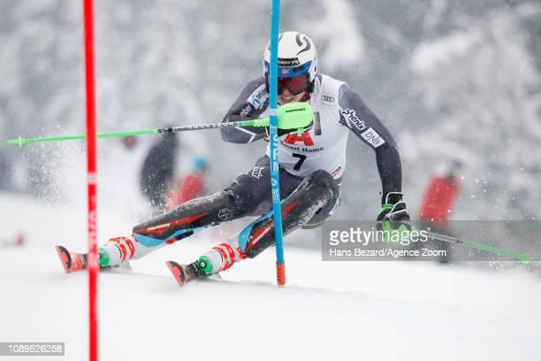 Henrik Kristoffersen of Norway competes during the Audi FIS Alpine Ski World Cup Men's Slalom on January 26 2019 in Kitzbuehel Austria