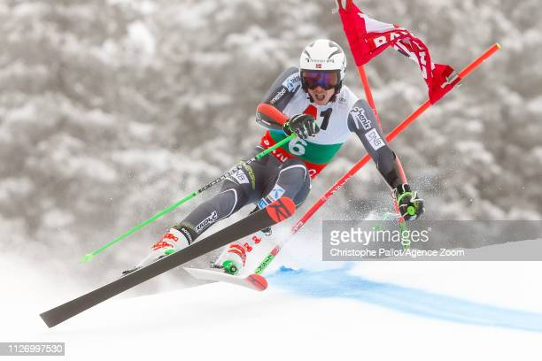 Henrik Kristoffersen of Norway competes during the Audi FIS Alpine Ski World Cup Men's Giant Slalom on February 24 2019 in Bansko Bulgaria