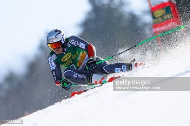 Henrik Kristoffersen of Norway competes during the Audi FIS Alpine Ski World Cup Men's Giant Slalom on March 9 2019 in Kranjska Gora Slovenia