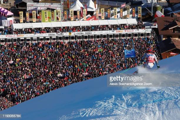 Henrik Kristoffersen of Norway competes during the Audi FIS Alpine Ski World Cup Men's Giant Slalom on January 11, 2020 in Adelboden Switzerland.