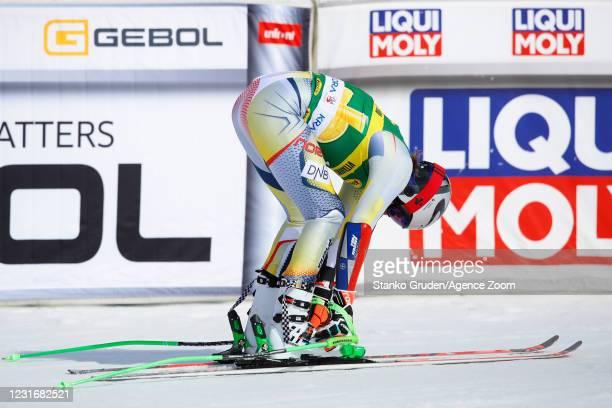 Henrik Kristoffersen of Norway competes during the Audi FIS Alpine Ski World Cup Men's Giant Slalom in March 13, 2021 in Kranjska Gora Slovenia.