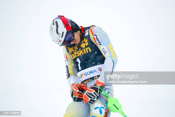 Henrik Kristoffersen of Norway competes during the Audi FIS Alpine Ski World Cup Men's Slalom in January 14, 2021 in Kranjska Gora Slovenia.