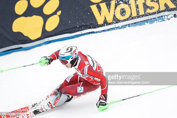 Henrik Kristoffersen of Norway competes during the Audi FIS Alpine Ski World Cup Men's Slalom on January 10 2016 in Adelboden Switzerland