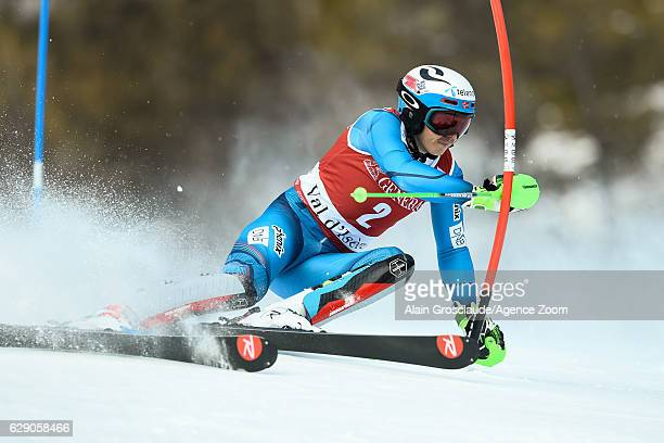 Henrik Kristoffersen of Norway competes during the Audi FIS Alpine Ski World Cup Men's Slalom on December 11 2016 in Vald'Isere France