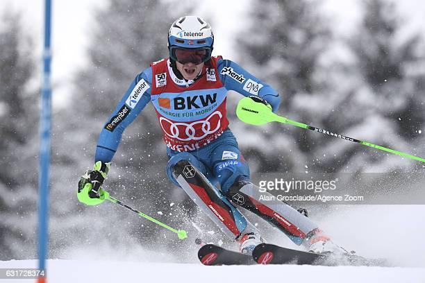 Henrik Kristoffersen of Norway competes during the Audi FIS Alpine Ski World Cup Men's Slalom on January 15 2017 in Wengen Switzerland