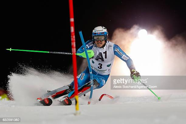 Henrik Kristoffersen of Norway competes during the Audi FIS Alpine Ski World Cup Men's Slalom on January 24 2017 in Schladming Austria