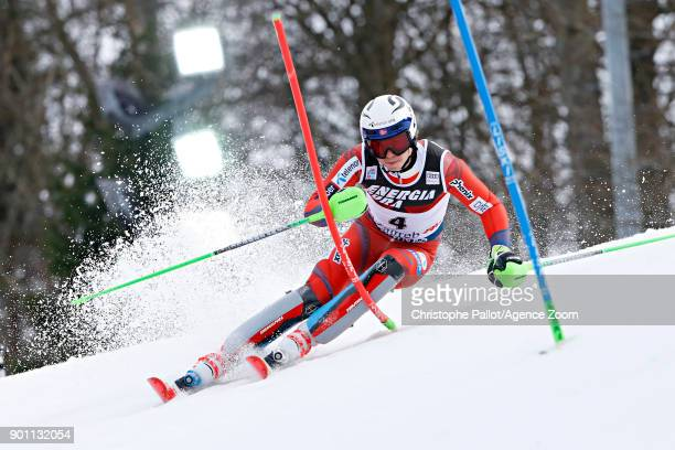 Henrik Kristoffersen of Norway competes during the Audi FIS Alpine Ski World Cup Men's Slalom on January 4 2018 in Zagreb Croatia