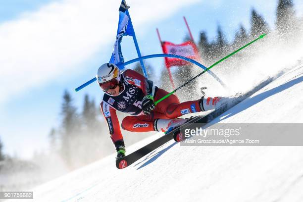 Henrik Kristoffersen of Norway competes during the Audi FIS Alpine Ski World Cup Men's Giant Slalom on January 6 2018 in Adelboden Switzerland