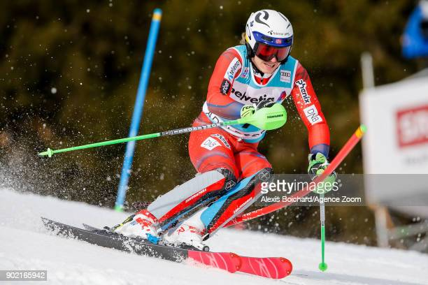 Henrik Kristoffersen of Norway competes during the Audi FIS Alpine Ski World Cup Men's Slalom on January 7 2018 in Adelboden Switzerland