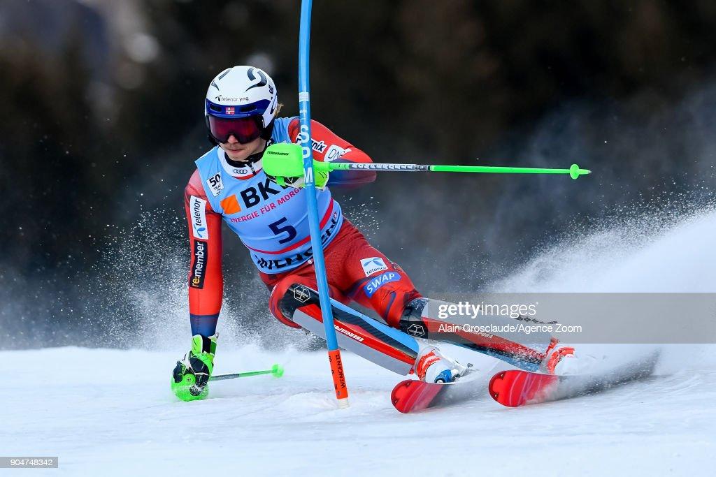 Henrik Kristoffersen of Norway competes during the Audi FIS Alpine Ski World Cup Men's Slalom on January 14, 2018 in Wengen, Switzerland.