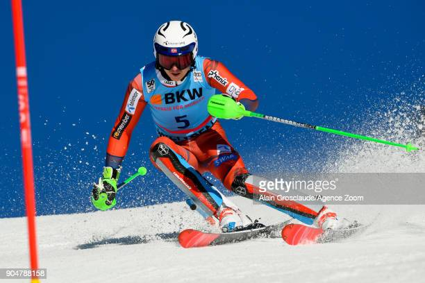 Henrik Kristoffersen of Norway competes during the Audi FIS Alpine Ski World Cup Men's Slalom on January 14 2018 in Wengen Switzerland