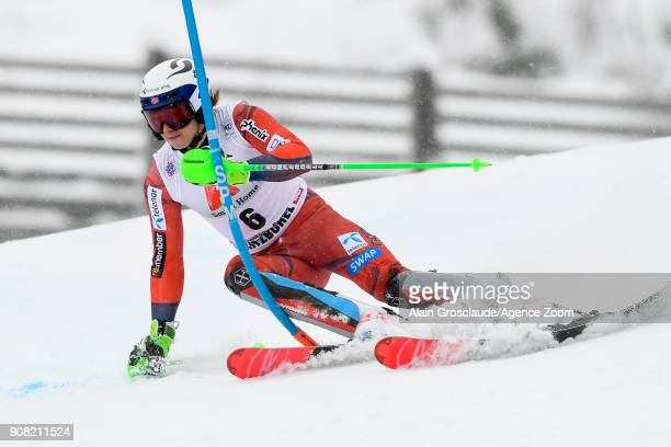 Henrik Kristoffersen of Norway competes during the Audi FIS Alpine Ski World Cup Men's Slalom on January 21 2018 in Kitzbuehel Austria