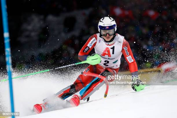 Henrik Kristoffersen of Norway competes during the Audi FIS Alpine Ski World Cup Men's Slalom on January 23, 2018 in Schladming, Austria.