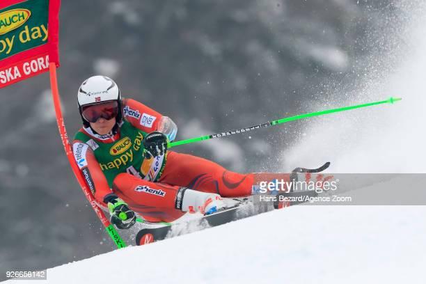 Henrik Kristoffersen of Norway competes during the Audi FIS Alpine Ski World Cup Men's Giant Slalom on March 3 2018 in Kranjska Gora Slovenia