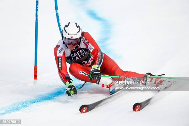 Henrik Kristoffersen of Norway competes during the Audi FIS Alpine Ski World Cup Finals Men's Giant Slalom on March 17 2018 in Are Sweden