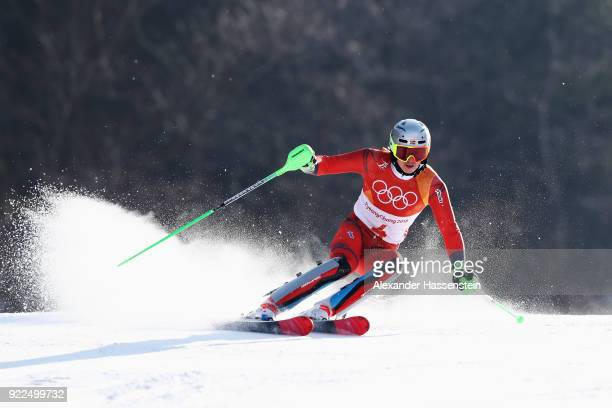 Henrik Kristoffersen of Norway competes during the Men's Slalom on day 13 of the PyeongChang 2018 Winter Olympic Games at Yongpyong Alpine Centre on...