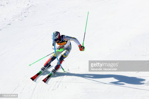 Henrik Kristoffersen of Norway competes in his second run of Men's Slalom during the FIS World Ski Championships Men's Slalom at Druscie A on...