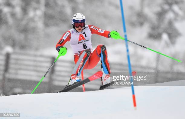 TOPSHOT Henrik Kristoffersen of Norway competes in the first run of the FIS Alpine World Cup Men's slalom event in Kitzbuehel Austria on January 21...