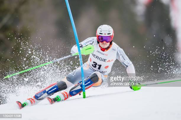 Henrik Kristoffersen of Norway competes in the Men's slalom run of the Alpine Combined event at the FIS ski alpine World Cup on March 1 2020 in...
