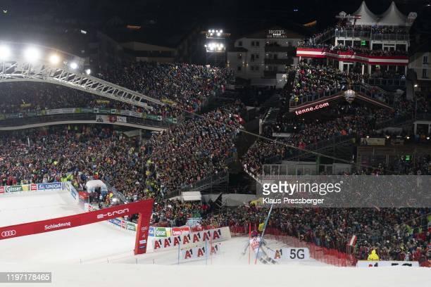 Henrik Kristoffersen of Norway competes in the second run during the Audi FIS Alpine Ski World Cup - Men's Slalom on January 28, 2020 in Schladming,...