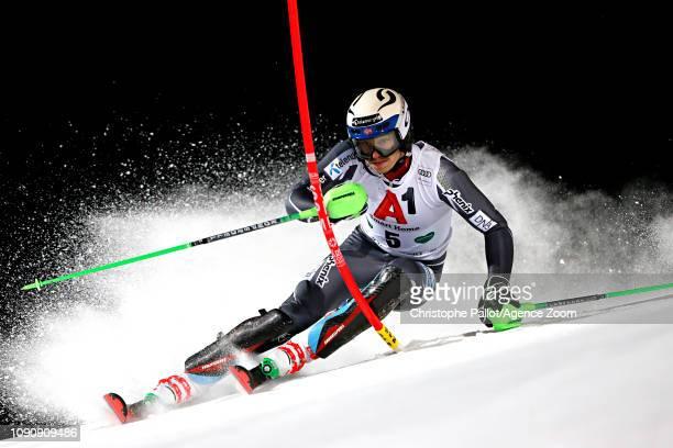 Henrik Kristoffersen of Norway in action during the Audi FIS Alpine Ski World Cup Men's Slalom on January 29, 2019 in Schladming Austria.