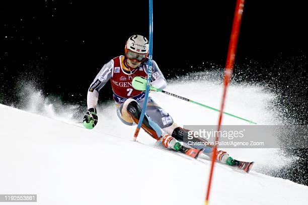 Henrik Kristoffersen of Norway in action during the Audi FIS Alpine Ski World Cup Men's Slalom on January 8 2020 in Madonna di Campiglio Italy