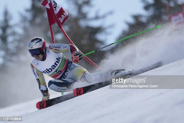 Henrik Kristoffersen of Norway in action during the Audi FIS Alpine Ski World Cup Men's Giant Slalom on February 28, 2021 in Bansko Bulgaria.