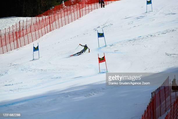 Henrik Kristoffersen of Norway in action during the Audi FIS Alpine Ski World Cup Men's Giant Slalom in March 13, 2021 in Kranjska Gora Slovenia.