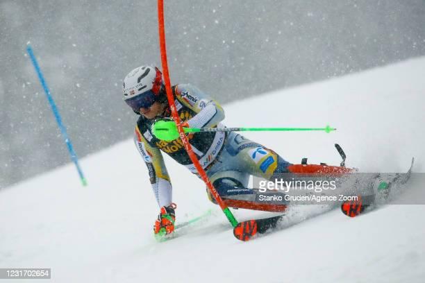 Henrik Kristoffersen of Norway in action during the Audi FIS Alpine Ski World Cup Men's Slalom in January 14, 2021 in Kranjska Gora Slovenia.