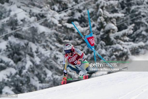 Henrik Kristoffersen of Norway in action during the Audi FIS Alpine Ski World Cup Men's Giant Slalom on March 20, 2021 in Lenzerheide, Switzerland.