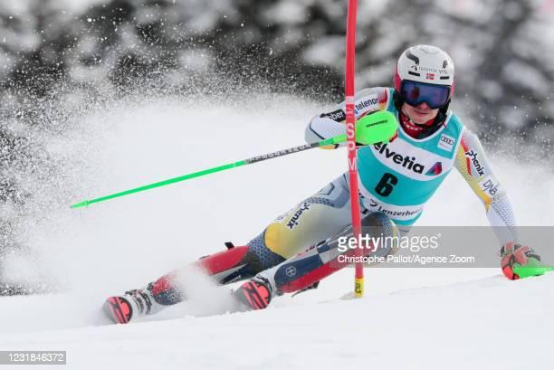 Henrik Kristoffersen of Norway in action during the Audi FIS Alpine Ski World Cup Men's Slalom on March 21, 2021 in Lenzerheide, Switzerland.
