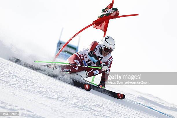 Henrik Kristoffersen of Norway in action during the Audi FIS Alpine Ski World Cup Men's Giant Slalom on October 25 2015 in Soelden Austria