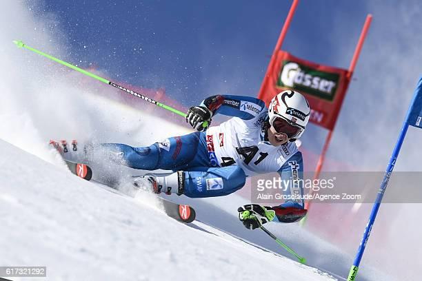Henrik Kristoffersen of Norway in action during the Audi FIS Alpine Ski World Cup Men's Giant Slalom on October 23 2016 in Soelden Austria