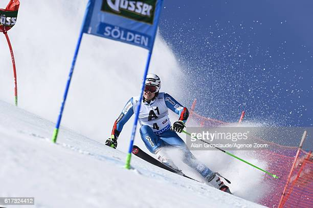 Henrik Kristoffersen of Norway in action during the Audi FIS Alpine Ski World Cup Men's Giant Slalom on October 23 2016 in Soelden Austria