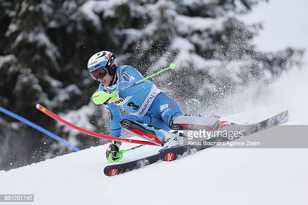 Henrik Kristoffersen of Norway in action during the Audi FIS Alpine Ski World Cup Men's Slalom on January 08 2017 in Adelboden Switzerland
