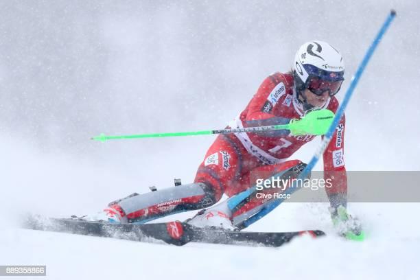 Henrik Kristoffersen of Norway in action during the Audi FIS Alpine Ski World Cup Men's Slalom on December 10 2017 in Vald'Isere France