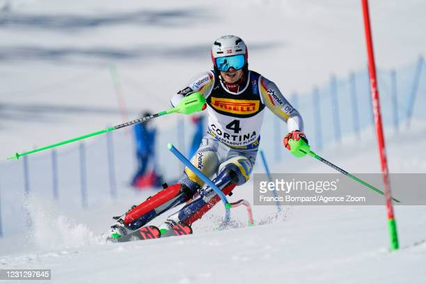 Henrik Kristoffersen of Norway in action during the FIS Alpine Ski World Championships Men's Slalom on February 21, 2021 in Cortina d'Ampezzo Italy.