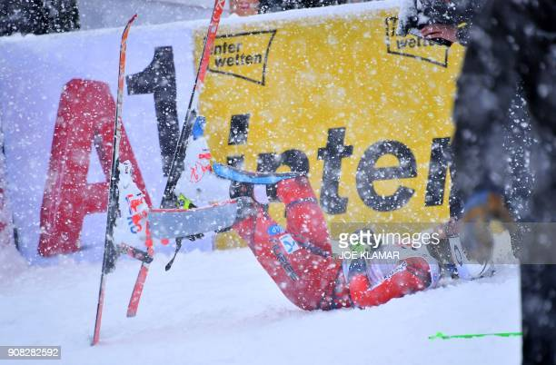 Henrik Kristoffersen of Norway lets himself fall in the snow after winning the men's slalom event at the FIS Alpine World Cup in Kitzbuehel Austria...