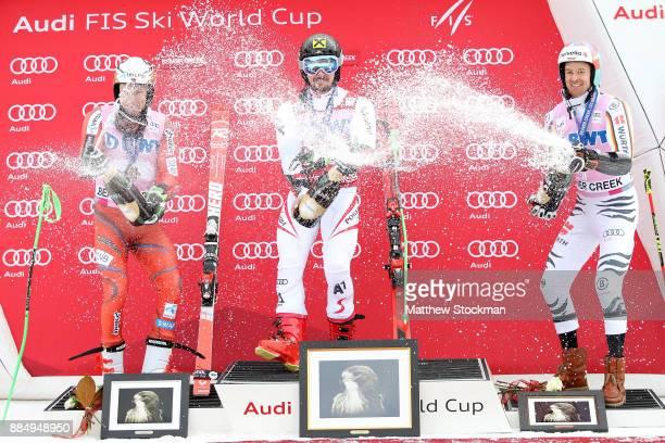 Henrik Kristoffersen of Norway Marcel Hirscher of Austria and Stefan Luitz of Germany celebrate on the medals podium after the Men's Giant Slalom...