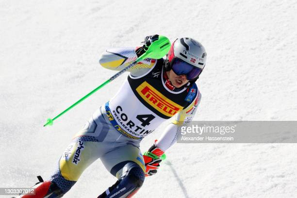 Henrik Kristoffersen of Norway reacts after his second run of Men's Slalom during the FIS World Ski Championships Men's Slalom at Druscie A on...