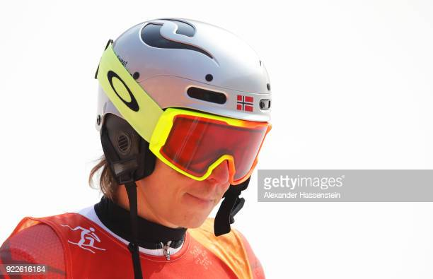 Henrik Kristoffersen of Norway reacts at the finish during the Men's Slalom on day 13 of the PyeongChang 2018 Winter Olympic Games at Yongpyong...