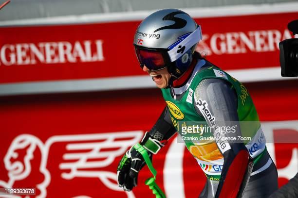 Henrik Kristoffersen of Norway takes 1st place during the Audi FIS Alpine Ski World Cup Men's Giant Slalom on March 9 2019 in Kranjska Gora Slovenia