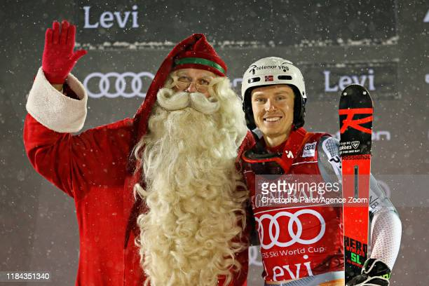Henrik Kristoffersen of Norway takes 1st place during the Audi FIS Alpine Ski World Cup Men's Slalom on November 24 2019 in Levi Finland