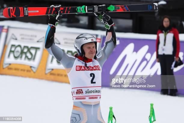 Henrik Kristoffersen of Norway takes 1st place during the Audi FIS Alpine Ski World Cup Men's Giant Slalom on December 22 2019 in Alta Badia Italy