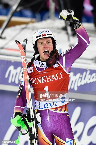 Henrik Kristoffersen of Norway takes 1st place during the Audi FIS Alpine Ski World Cup Men's Slalom on November 16 2014 in Levi Finland