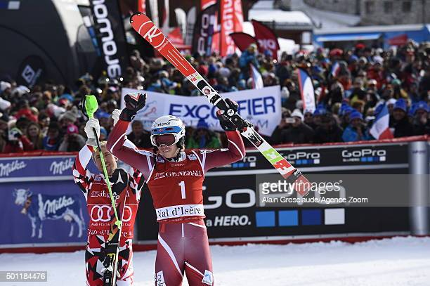 Henrik Kristoffersen of Norway takes 1st place during the Audi FIS Alpine Ski World Cup Men's Slalom on December 13 2015 in Val d'Isere France